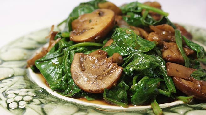Spinach Recipes   Allrecipes com Mushrooms and Spinach  Italian Style