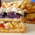 Blueberry Crumb Bars - In these easy bar cookies, blueberries top a pastry crust and get sprinkled with a cinnamon crumble before baking. You can use any berries you like.