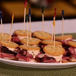 RITZ Pastrami and Corned Beef Mini Sandwich, created by Carnegie Deli Recipe