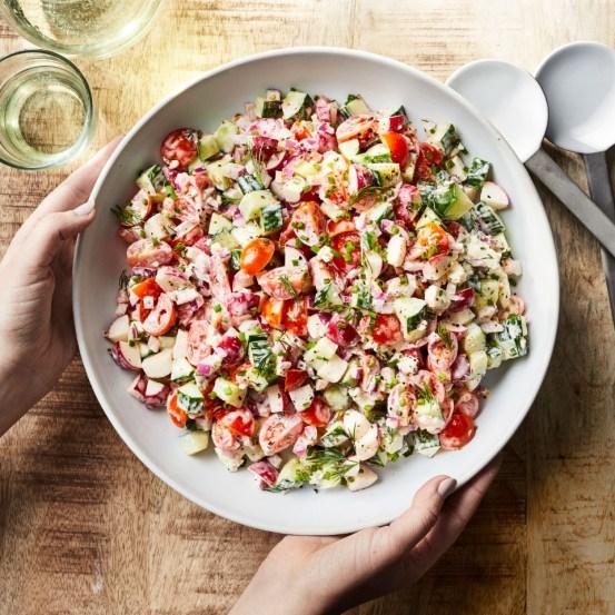 Creamy Cucumber, Radish & Tomato Chopped Salad