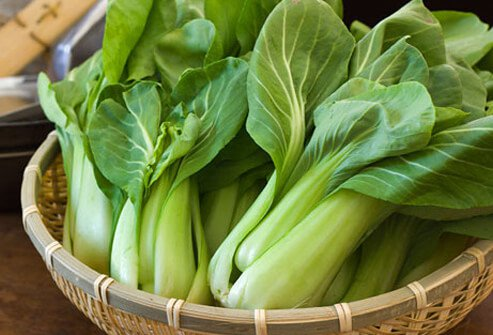 Basket of bok choy.