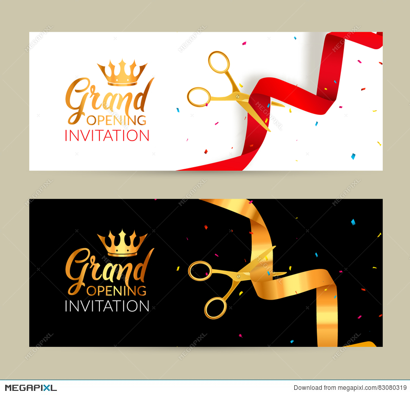 grand opening invitation banner golden