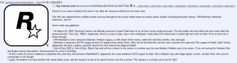GTA 6 4Chan Leak