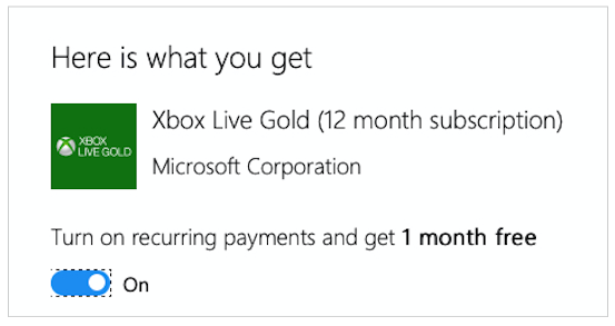 Xbox Live Gold Recurring Payment
