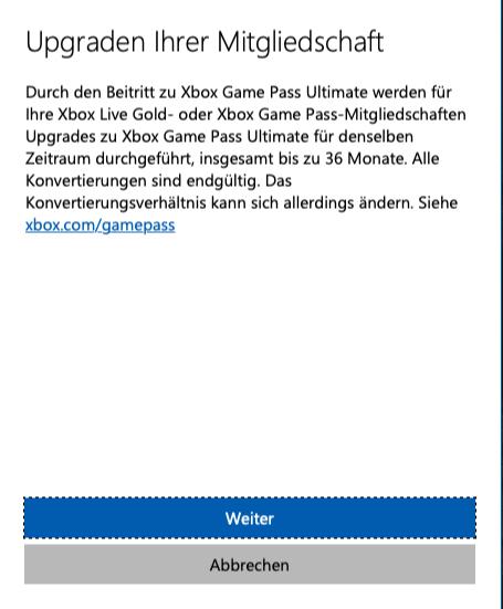 Xbox Game Pass Ultimate Upgrade Hinweis