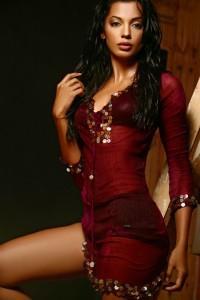 Mugdha Godse In Red Dress Wet Look Pic