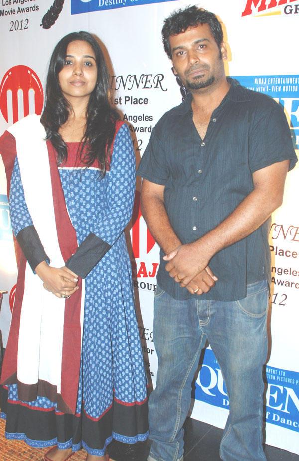 Vidya and Srinivas Poses at Los Angeles Movie Awards 2012