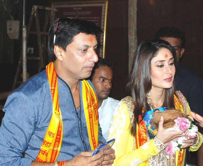 Madhur and Kareena at Siddhivinayak Temple For Heroine Music Launch