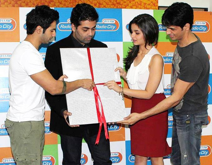Varun,Karan,Siddharth and Alia at The Music Launch Of Student Of The Year at 91.1 FM