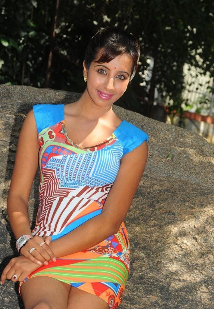 Sanjana In Printed Short Dress Hot Look Still