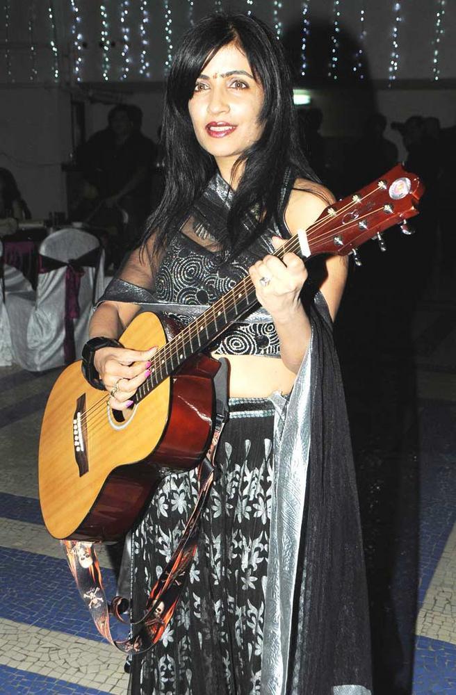 Shibani With Playing Violin Still At Amy Billimoria Birthday Bash