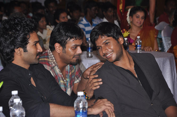 Aadhi,Sandeep And Manchu Manoj During The Audio Launch Of Maranthen Mannithen