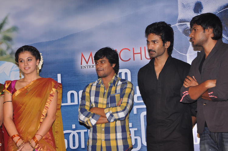 Tapsee,Sandeep And Aadhi Clicked At Maranthen Mannithen Movie Audio Launch