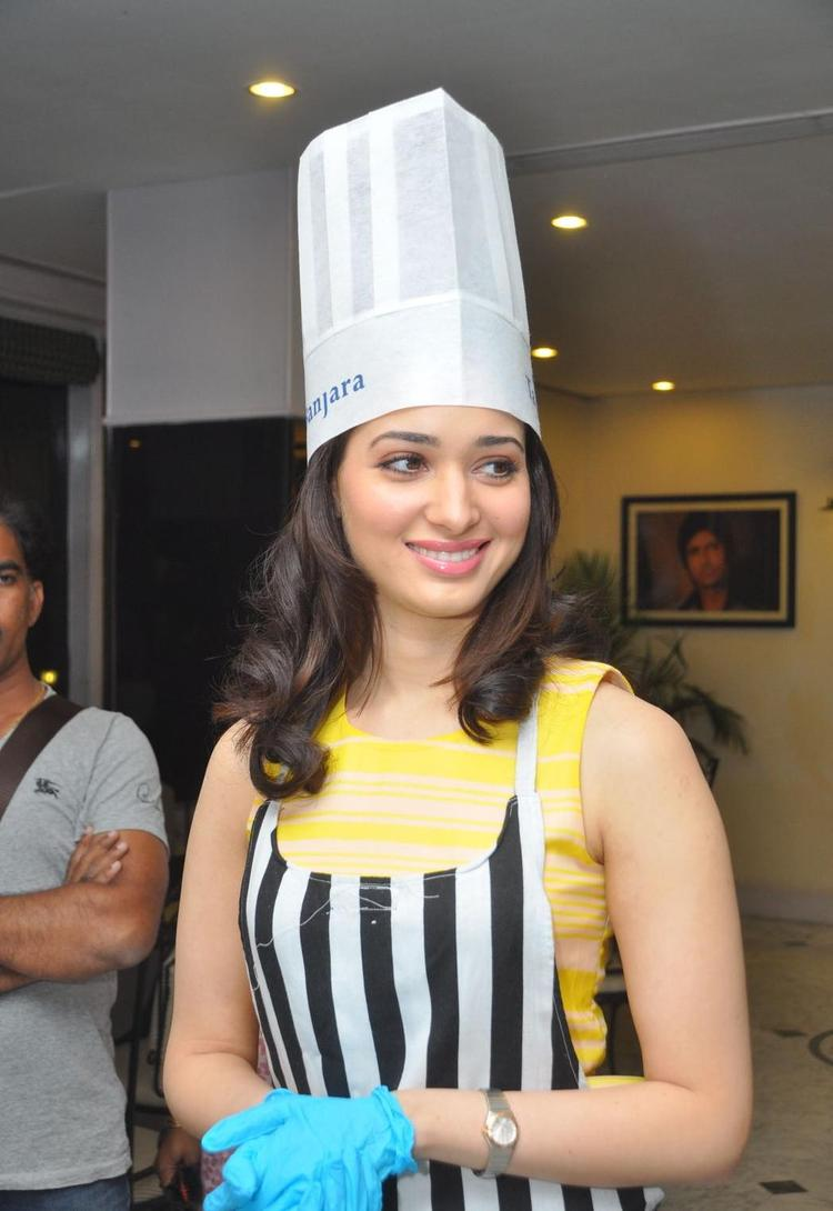Tamanna Cute Look In Cake Mixing Competition