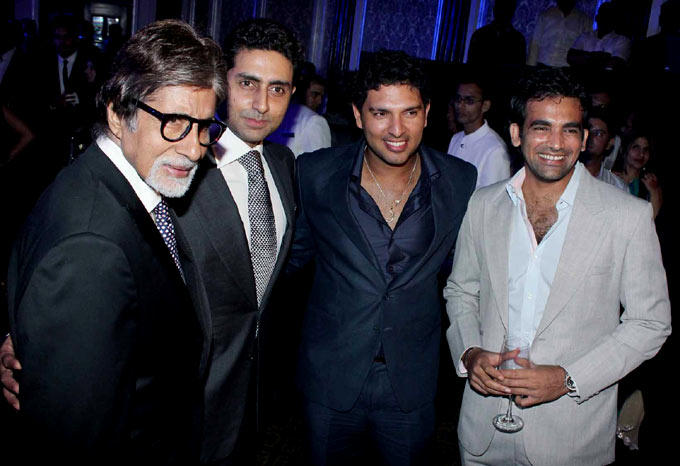 Amitabh,Abhishek,Yuvraj And Zaheer Smiling For The Camera At The Launch Of Ulysse Nardin 34 Watches