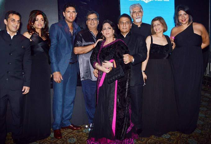 Sunil Gavaskar Poses With Wife Marshneil,Son Rohan,Yuvraj,Subhash And Other Guests