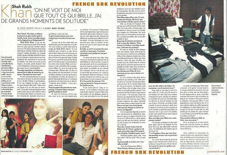Shahrukh Khan On The French Magazine Paris Match
