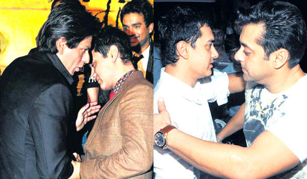 Salman With Aamir Hug Still And SRK With Aamir Discussion Still