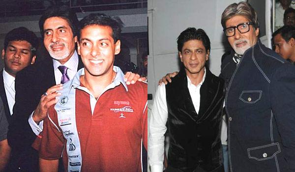 Salman With Amitabh Smiling Still And SRK With Amitabh Cool Still