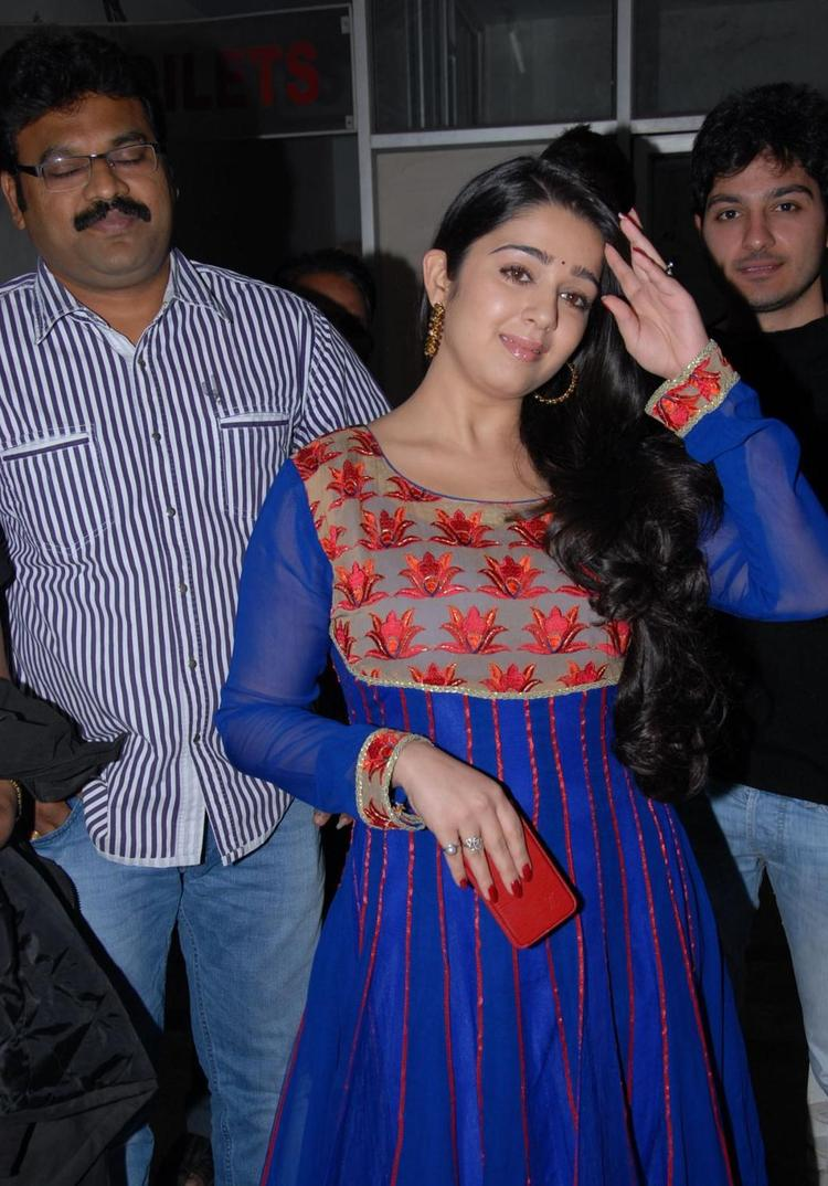 Charmy Looked Ravishing In A Blue Dress At Naveena Cosmetic Slim Clinic Opening