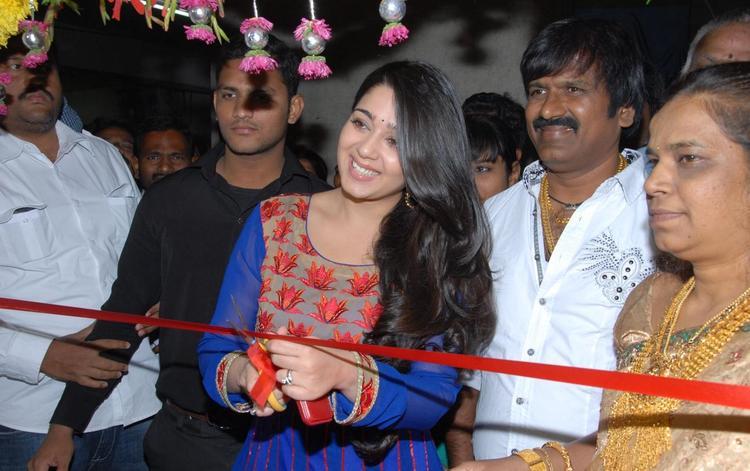 Charmy Ribbon Cutting Photo At Naveena Cosmetic Slim Clinic Inaguration