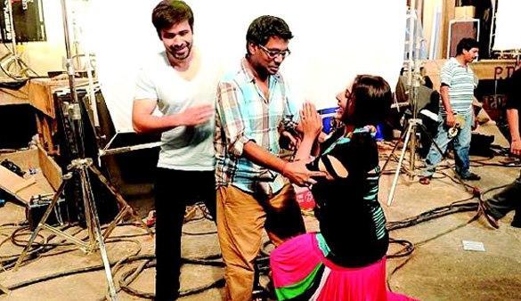 Emraan And Vidya With Rajkumar Photo Clicked On The Sets Of Ghanchakkar