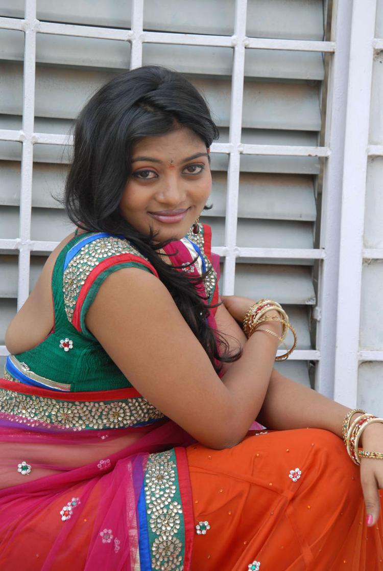 Soumya Gorgeous In Saree Still At Chowrasta Movie Launch