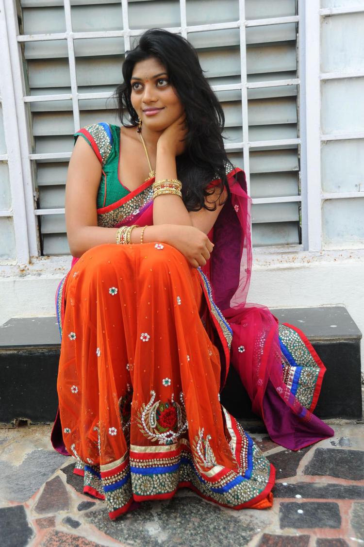 Soumya Hot In Saree Still At Chowrasta Movie Launch