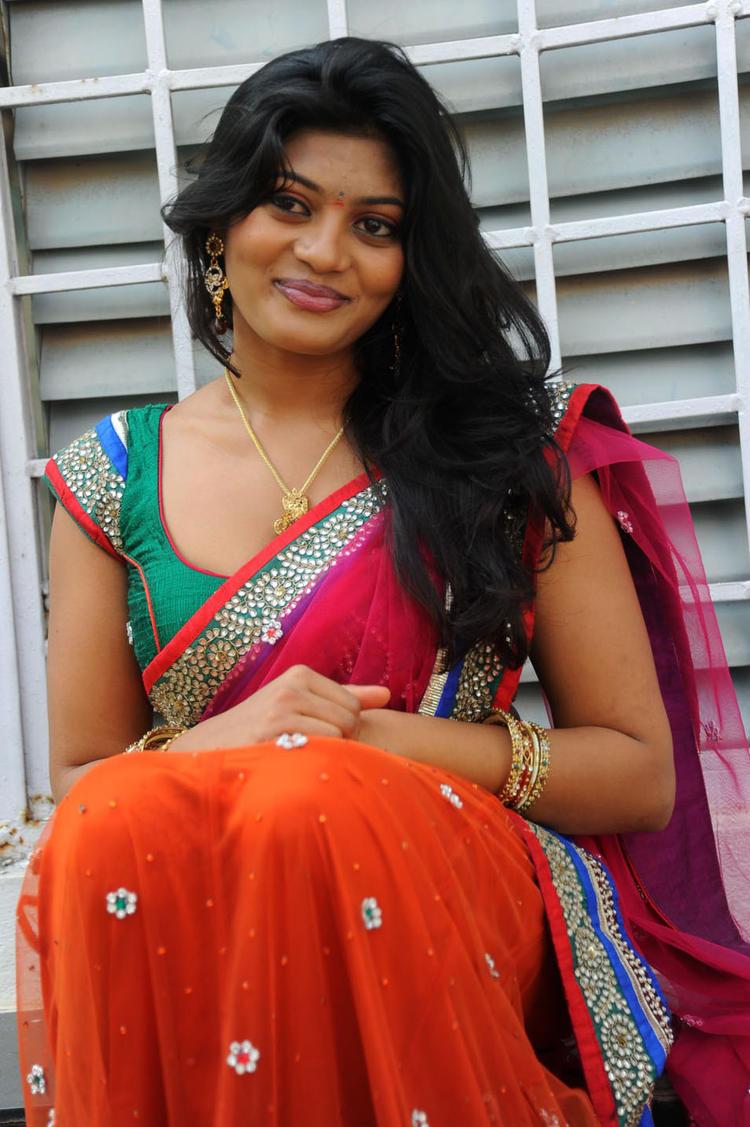 Soumya Trendy Look In Saree Still At Chowrasta Movie Launch