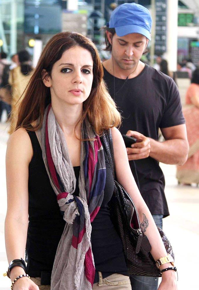 Hrithik With Wife Suzzane At Airport