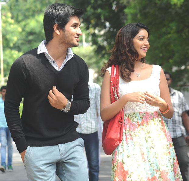 Nikhil And Reddy Smiling Still From Swamy Ra Ra Movie