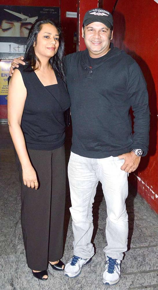 Suresh Menon With A Friend Photo Clicked  At Khiladi 786 Screening