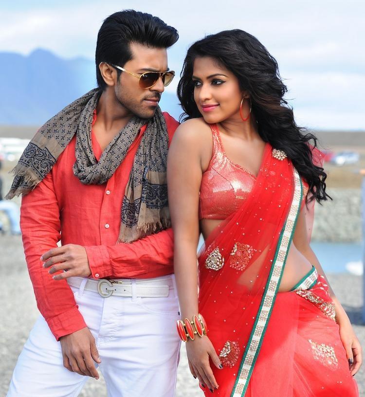 Ram Charan And Amala Hot Look Still From Nayak Movie