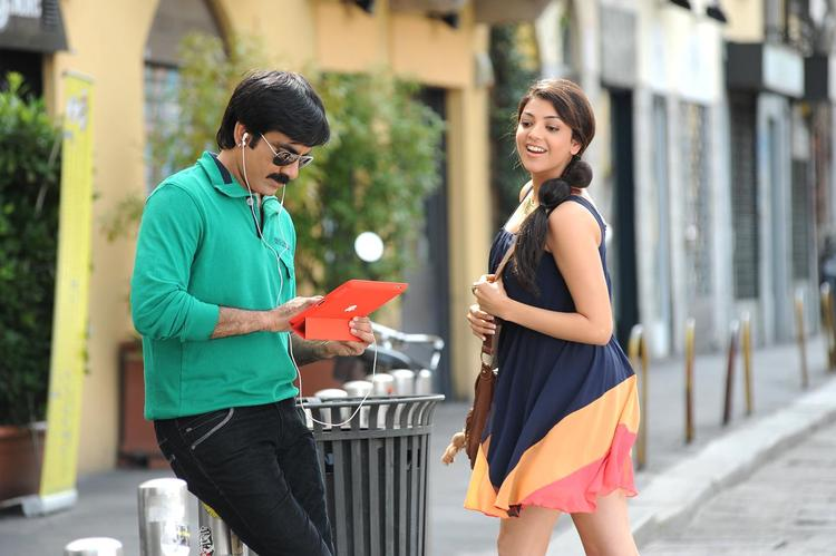 Ravi And Kajal Smiling Still From Sarocharu Movie