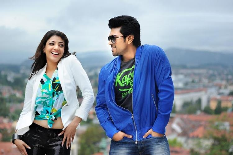 Kajal And Ram Charan Dancing Still From Telugu Movie Naayak