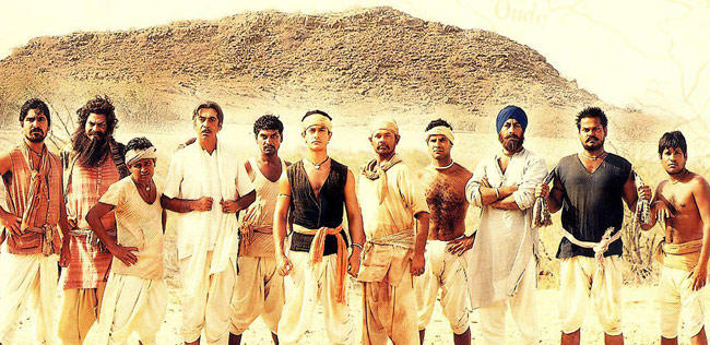 Raj Standing To The Right Of Aamir In Laagan Poster