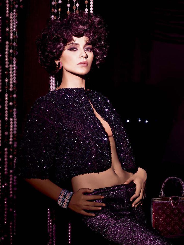 Kangana Sexy Navel Expose Hot Still For Harpers Bazaar India December 2012