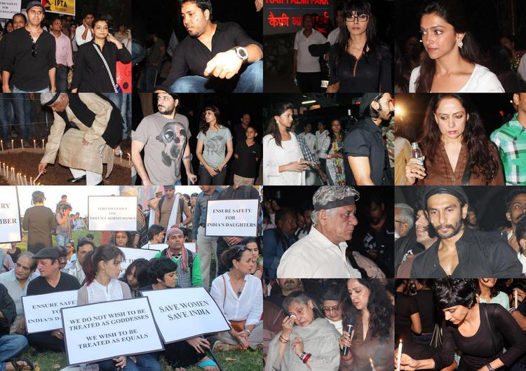 Bollywood Stars Pay Their Tribute By Candle Light Rally To The Gang Rape Victim