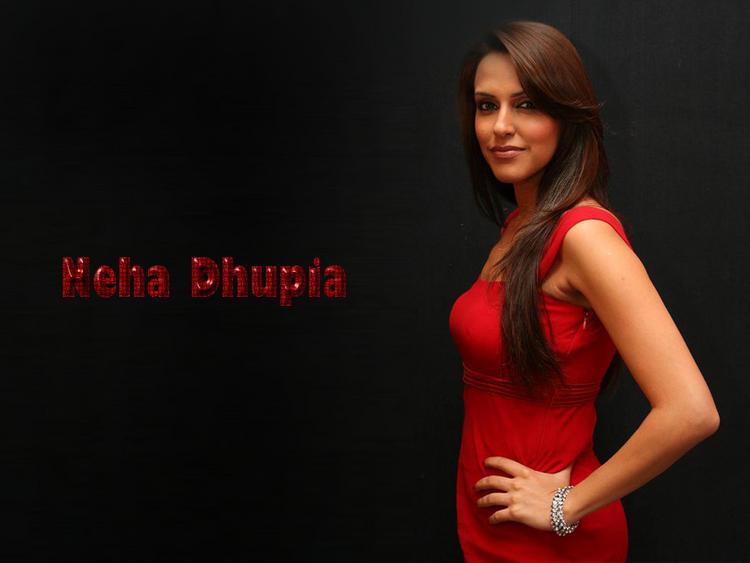 Neha Dhupia Red Dress Awesome Look Wallpaper