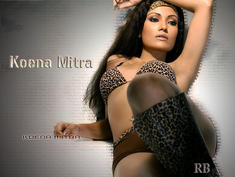 Koena Mitra Wet Bikini Dress Wallpaper