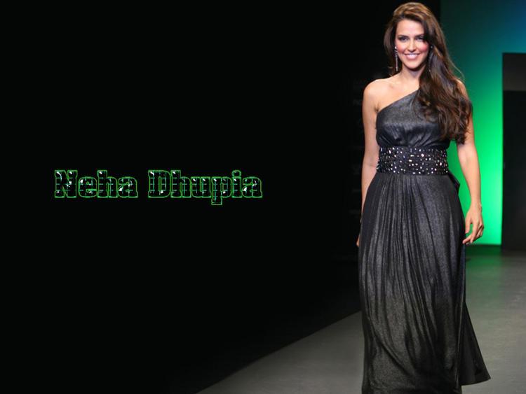 Neha Dhupia Black Dress Hot Look Wallpaper