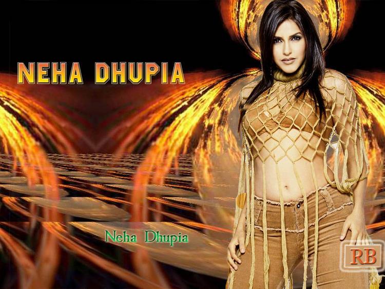 Neha Dhupia Sexy Navel Exposing Wallpaper