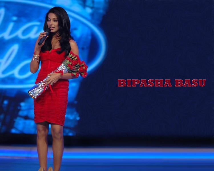 Bipasha Basu Red Dress Wallpaper With Bouquet At Indian Idol