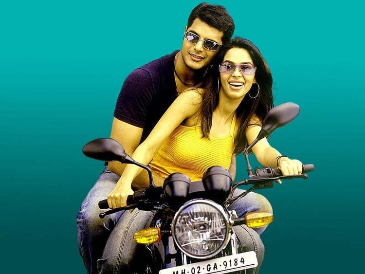 Mallika Sherawat and Himanshu Malik Wonderful Still On Bike