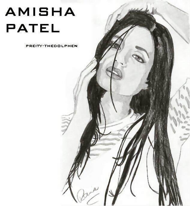 Amisha Patel Sketch Painting Photo