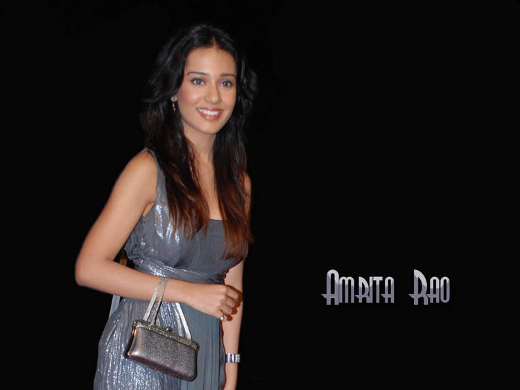 Amrita Rao Glazing Gray Color Dress Wallpaper