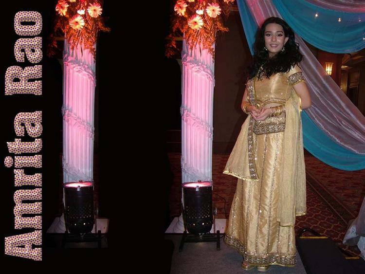 Amrita Rao Wallpaper In Beautiful Dress
