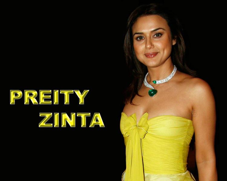 Preity Zinta Strapless Yellow Dress Wallpaper