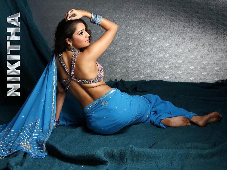 Nikitha Sexy Blouse Exposing Wallpaper