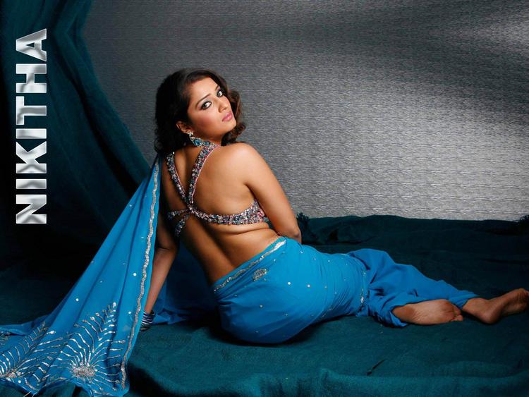 Nikitha Sexy Pose In Saree